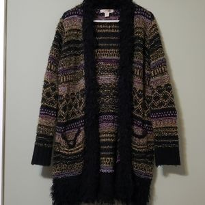 Bohemian fuzzy long sweater with pockets